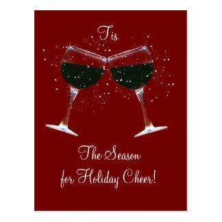 Toasting Wine Glasses Holiday Postcards