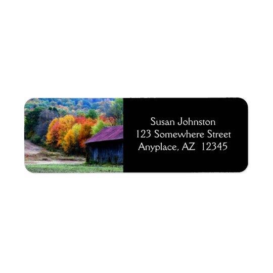 Tobacco Barn Autumn Foliage Address Label