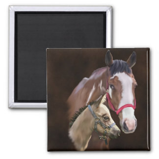 Tobiano Paint Mare and Foal Square Magnet