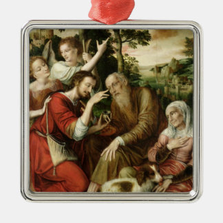 Tobias Curing his Father's Blindness, 1563 Silver-Colored Square Decoration