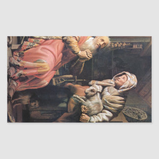 Tobias suspected his wife of stealing by Rembrandt Rectangle Sticker