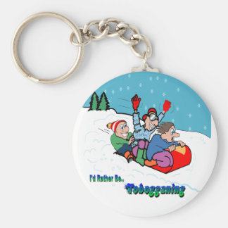 Tobogganing Basic Round Button Key Ring