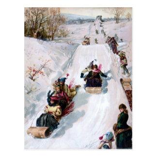TOBOGGANING CHRISTMAS WINTER SCENIC (toboggan) ~ Postcard
