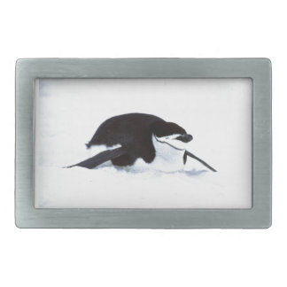 Tobogganing Penguin Rectangular Belt Buckle