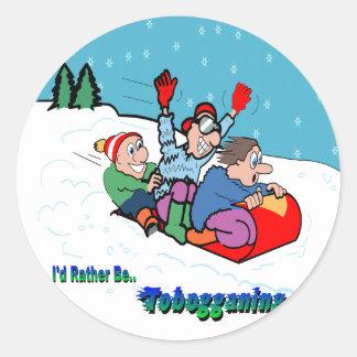Tobogganing Round Sticker