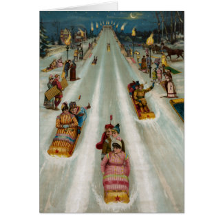 Toboggans On a winter night Card