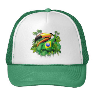 Toco Toucan with Brazil Flag hats