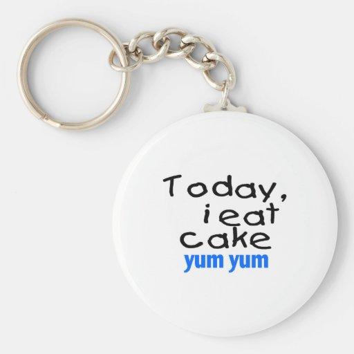 Today I Eat Cake Yum Yum (blue) Key Chain