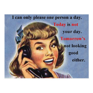Today is not your day retro image mug post cards