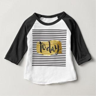 """today"" Modern Black White Stripes golden shiny Baby T-Shirt"