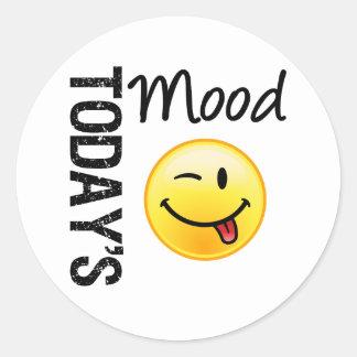 Today s Mood Emoticon Playful Round Sticker