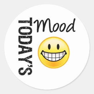 Today s Mood Very Happy Emoticon Round Stickers