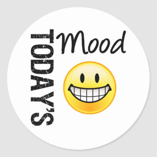 Today s Mood Very Happy Emoticon Round Stickers