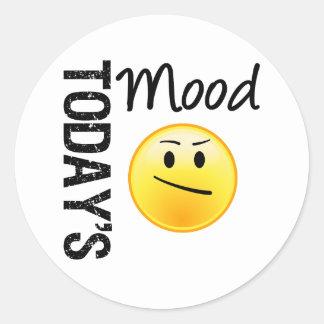 Today's Mood Emoticon Annoyed Round Sticker