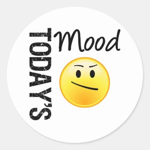 Today's Mood Emoticon Annoyed Round Sticker | Zazzle