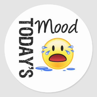 Today's Mood Emoticon Crying Round Sticker