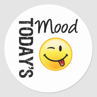 Today's Mood Emoticon Playful Round Sticker