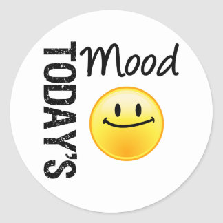 Today's Mood Emoticon Satisified Round Stickers