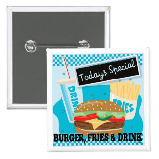 Todays Special - Burger Fries & Drink 15 Cm Square Badge