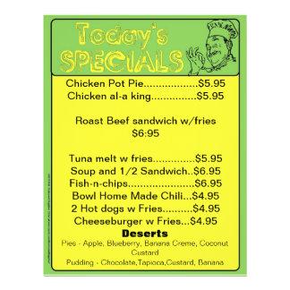 Today's Specials Menu Inserts Restaurant Supplies 21.5 Cm X 28 Cm Flyer