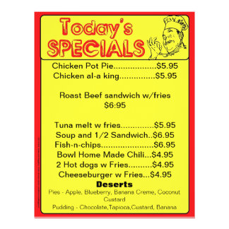 Today's Specials Menu Inserts Restaurant Supplies 21.5 Cm X 28 Cm Flyer