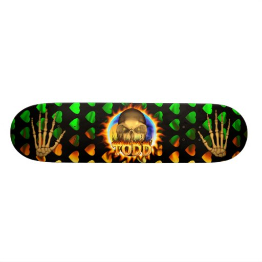 Todd skull real fire and flames skateboard design.