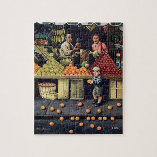 Toddler and Oranges Jigsaw Puzzle