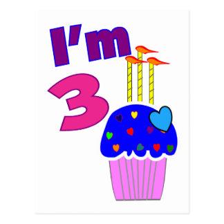 Toddler Birthday I m 3 ---Adorable Cupcake Design Postcard