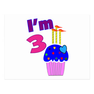 "Toddler Birthday ""I'm 3""---Adorable Cupcake Design Postcard"