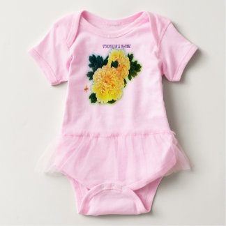 TODDLER BODY SUIT TUTU WITH FLOWERS & HUMMINGBIRD BABY BODYSUIT