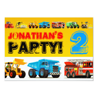 Toddler Boys 2nd Birthday Party Construction Truck Card