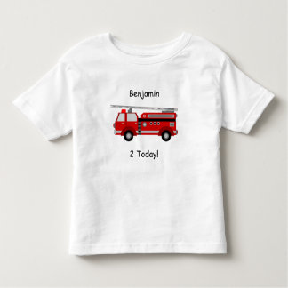 "Toddler Fire Truck T-Shirt with Name & ""2 Today!"""