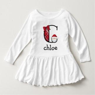 Toddler Girl Plaid Santa Christmas Dress initial C
