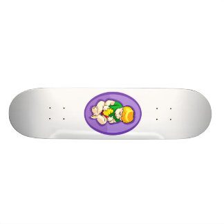 toddler holding chick purple oval.png skateboard decks