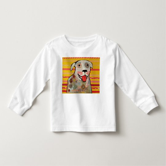 Toddler Long Sleeve T-Shirt with Bright Dog Design