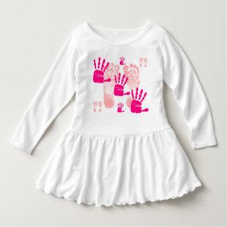 Toddler Pink Foot Print & Hand Print Ruffle Dress