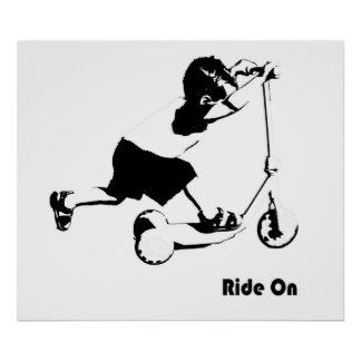 Toddler Riding a Scooter Poster