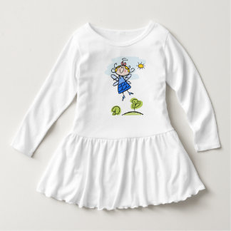 Toddler Ruffle Dress with cartoon angel motive.