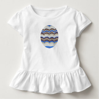 Toddler ruffle T-shirt with blue mosaic