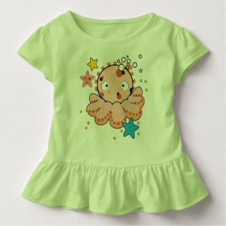Toddler Ruffle Tee, light green with octopus Toddler T-Shirt