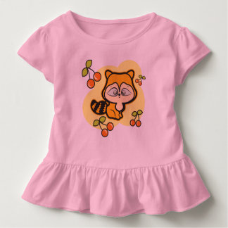 Toddler ruffle Tee, Pink, with fox and cherries Toddler T-Shirt