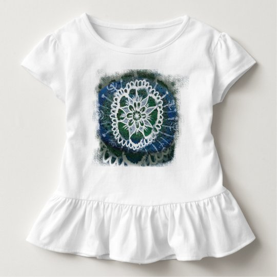 Toddler Ruffle Tee White mandala blue background