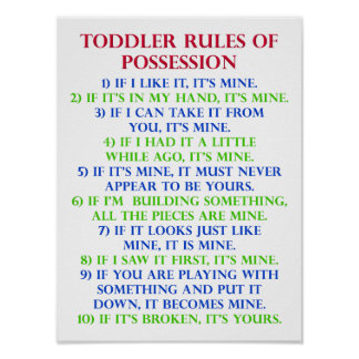 Toddler s Rules Of Possession Funny Poster Sign
