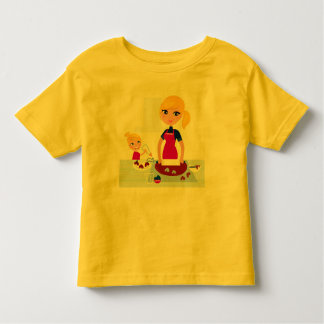 TODDLER t-shirt yellow with Cooking mother