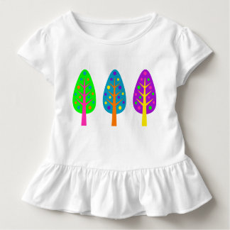 Toddler Three Colorful trees Ruffle Tee