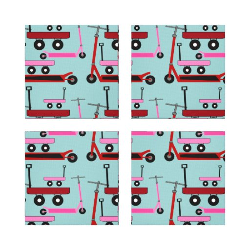 Toddler Transportation Red Pink Scooters Wagons Stretched Canvas Prints