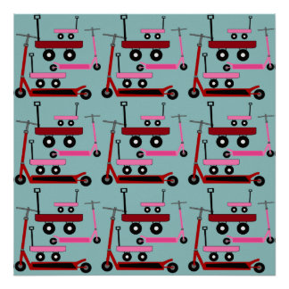 Toddler Transportation Red Pink Scooters Wagons Posters