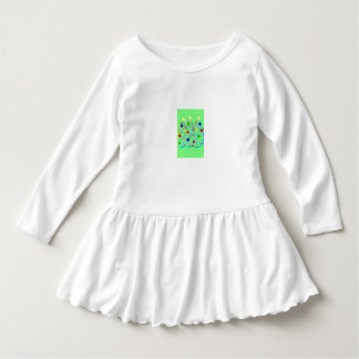 toddler white ruffled dress with Christmas trees