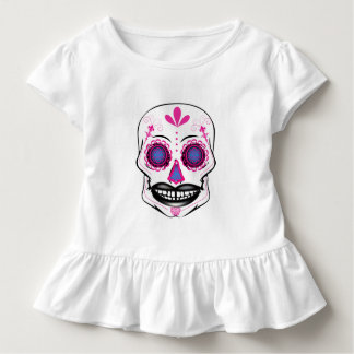 Toddlers Pink Candy Skull Ruffle Shirt