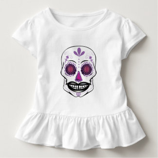 Toddlers Purple Candy Skull Ruffle Shirt